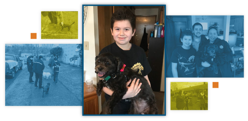 A photo collage of a boy and his pet dog