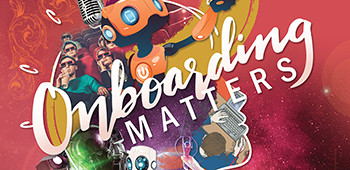The front cover of the Onboarding Matters magazine