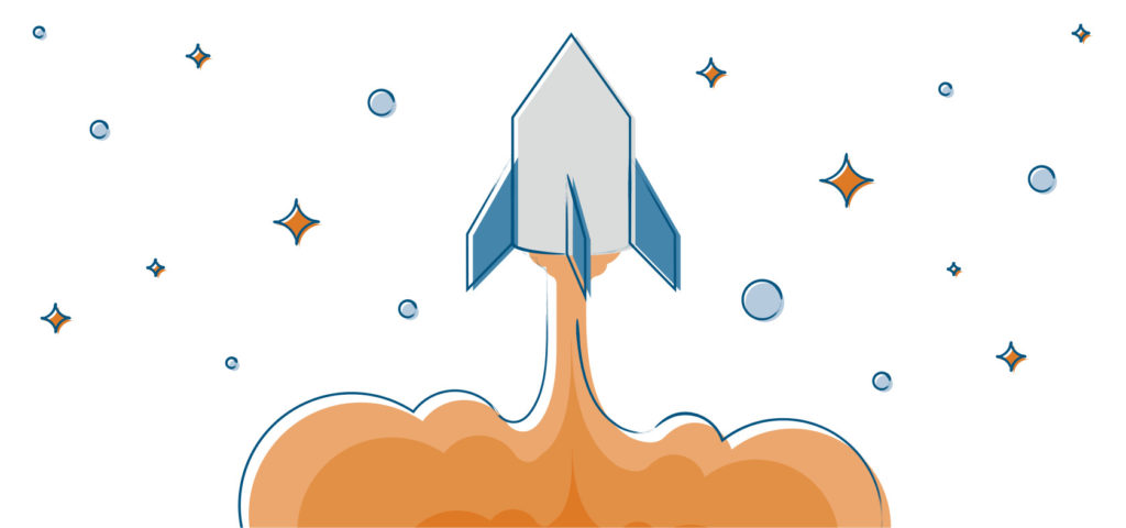 A blue and orange colored illustration of a rocket blasting off that symbolizes preboarding for new hires