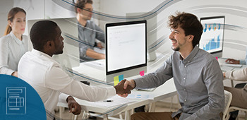 A photo of two men shaking hands in an office environment with a visual overlay of wavy lines that symbolize the onboarding experience