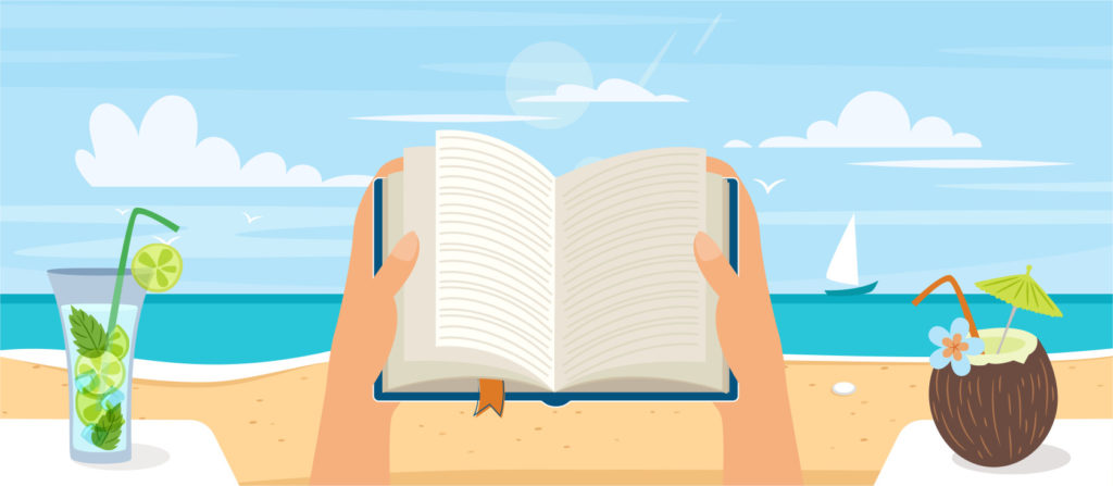 A person is reading a book on the beach with two drinks. He/she is enjoying his/her book and beverage pairing.