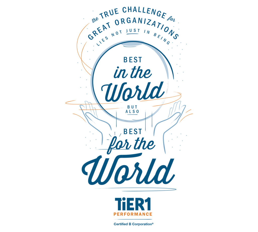 Image that illustrates TiER1's recognition as a 2019 Best For The World honoree