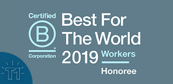 Logo for TiER1's recognition as a 2019 Best For The World honoree